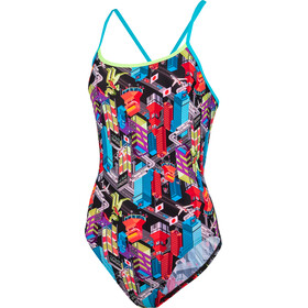 speedo Dragon Yang Badeanzug Damen black/bright zest/aquasplash/psycho red